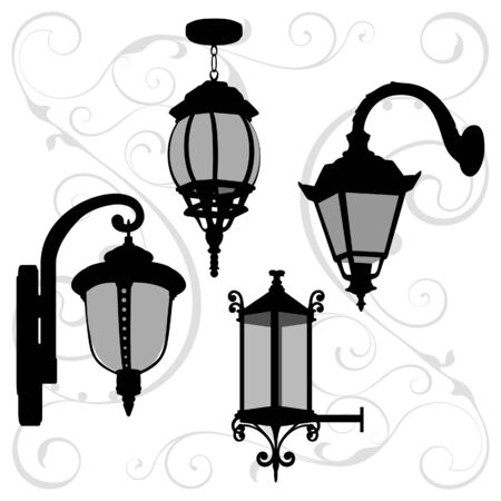 Lanterns set Vector illustration.