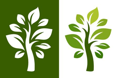 Vector trees on green and white background.