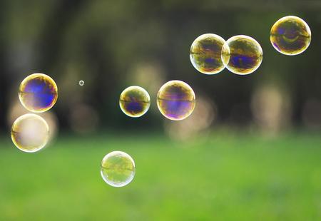 Schöne festliche Hintergrund mit schillernden Regenbogen transparente Seifenblasen auf grünem Gras