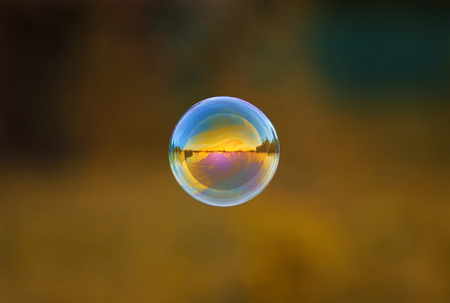 round iridescent soap bubble flying over the Sunny meadow with the mirrored landscape Stockfoto