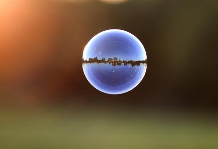 beautiful iridescent soap bubble with reflection landscape flies by sundown