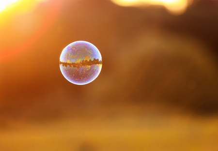 iridescent bubbles with the mirrored landscape is flying to the sunset over summer meadow