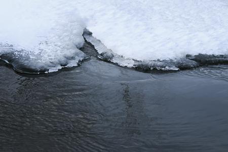 prachtige waterrand bedekt met een wit briljant blauw ijs op een ijskoud meer