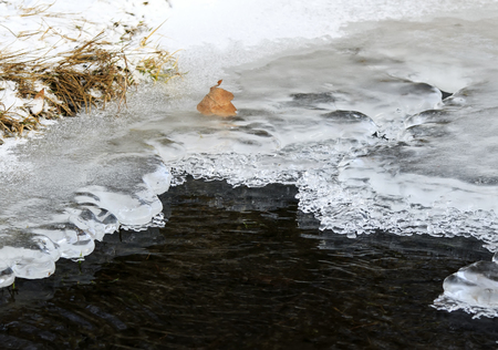 background in the late autumn water freezes and is covered with a thick cold ice