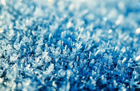 texture festive beautiful natural background of carved shiny blue frost crystals and blue cold ice