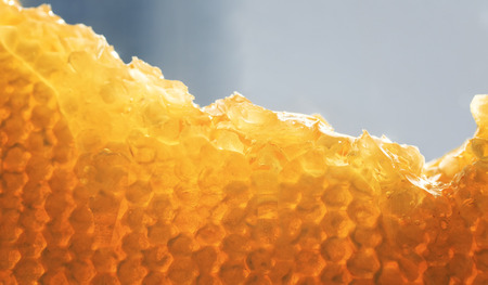 delicious background of Golden honeycomb with flowing sticky sweet bright and fragrant honey Stockfoto