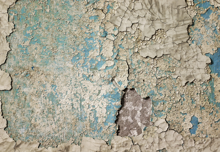 texture of old wall with many layers of peeling paint and plaster Stockfoto