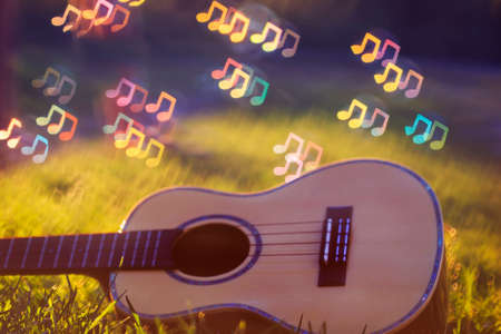 musical wooden guitar lies in the green grass and brilliant notes sounds fly over it