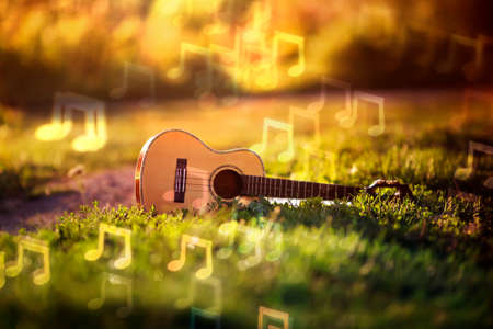 background with musical wooden guitar lying in green grass and brilliant notes sounds fly over it