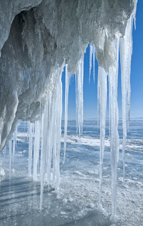 icicles in the grotto on Baikal
