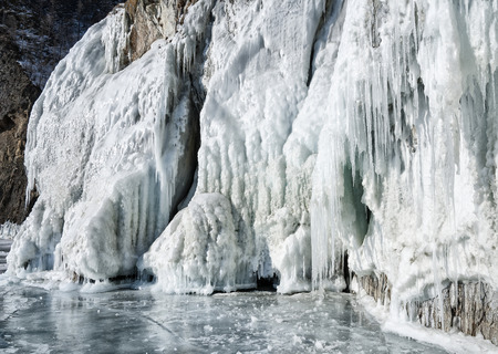 icicles on the  shore of lake Baikal