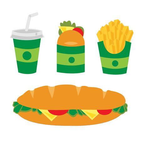 fast food snack drink Stock Illustratie