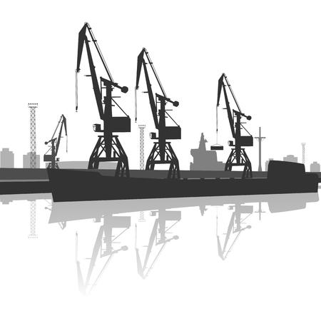 silhouette of ship and crane in port Ilustração Vetorial