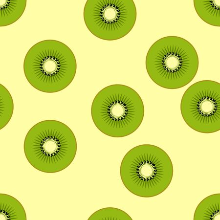 Vector illustration of kiwi, fruits on background. Seamless pattern with clipping mask, EPS10.