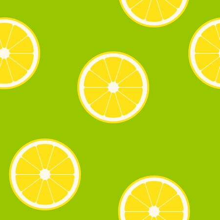 Simple Vector illustration of lemon on green background. Seamless pattern with clipping mask, EPS10.