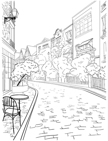 A walk through the city center of Paris,  famous district of Montmartre, beautiful street with trees, houses and cafe. Sketch, hand drawn vector image.