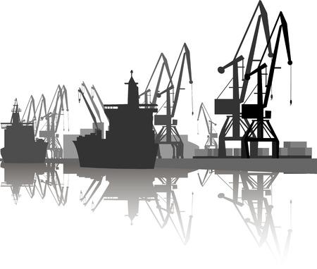 Silhouette di nave e gru in porto. Archivio Fotografico - 88853550