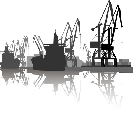 Silhouette of ship and crane in port. Çizim