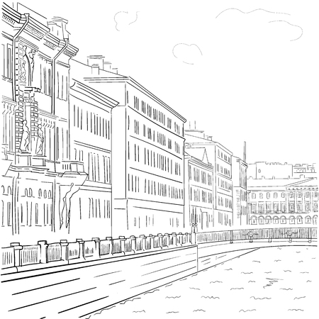 Vector de la imagen del dibujo blanco y negro dibujado a mano de los edificios frente al mar en el centro histórico de San Petersburgo. Caminar alrededor de la ciudad