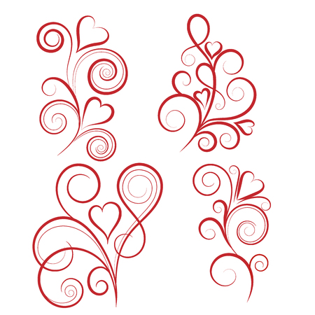 Set of abstract vertical floral swirl with heart. Vector illustration for greeting  card.