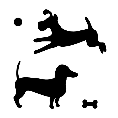 Black silhouette of two dogs. Puppy in jumping for the ball and runs,  dachshund guarding a bone.