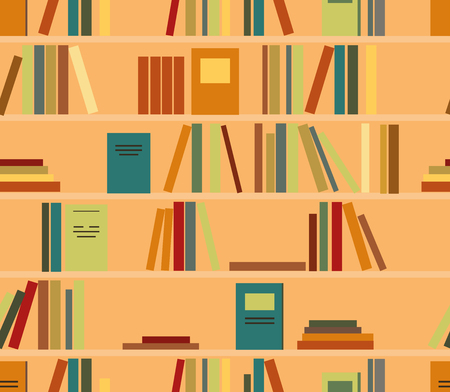 Vector seamless pattern with colored book on shelves with clipping mask Çizim
