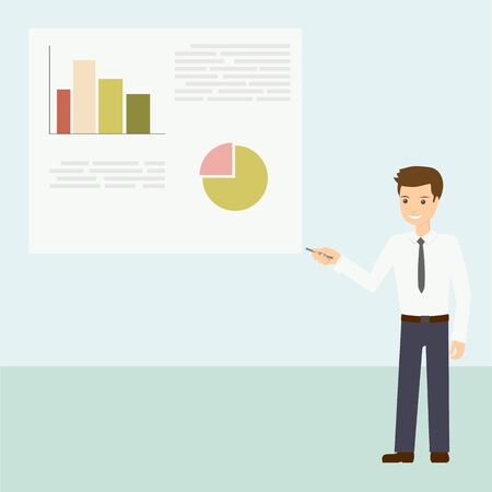 Business man shows a report with graphs and charts on the Board. The teacher explains the courses, conducts training. Flat design vector illustration.