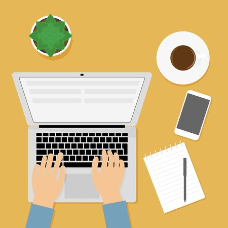 Workplace person working at computer. Concept of sedentary lifestyle, office. Notebook, notepad, cup of coffee, cactus, mobile phone on the table. Top view, flat design style. 向量圖像