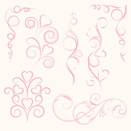 conjunto de remolino abstracto de color rosa floral floral con corazón sobre fondo rosa. ilustración vectorial para la tarjeta de felicitación . Ilustración de vector
