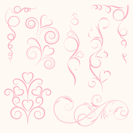 Set of abstract vertical floral pink swirl with heart on pink background. Vector illustration for greeting  card. 矢量图像
