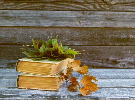 Autumn background with dry leaves, old books on dark brown bench. Copy space, side view