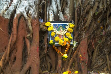 gift to God on roots a tree banian Stock Photo