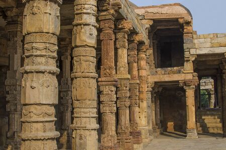minar: column arches, historical place Kutb - Minar