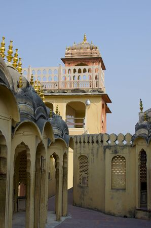 waved: Part the building of the Palace of the winds Hava Makhal in Jaipur India