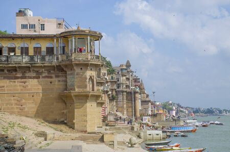 Architecture in the city of Varanasi of India on the Ganges River Stock Photo