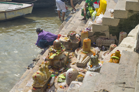 The embankment of the river of Varanasi in India to lingam