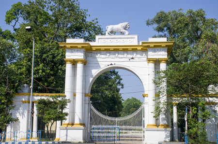 Beautiful white gate with a lion in Kolkat India