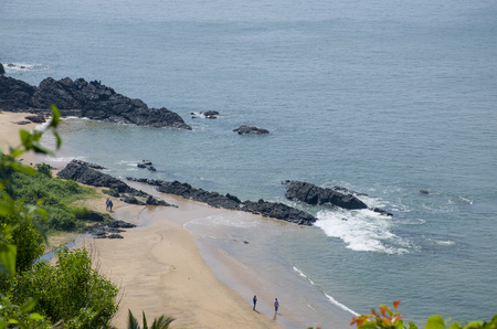Landscape of the tropical beach of Vasco De Gamma in India Stock Photo