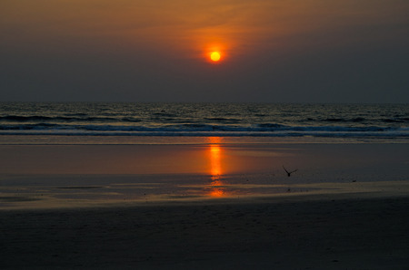 sunset in the sea of goa india Stock Photo
