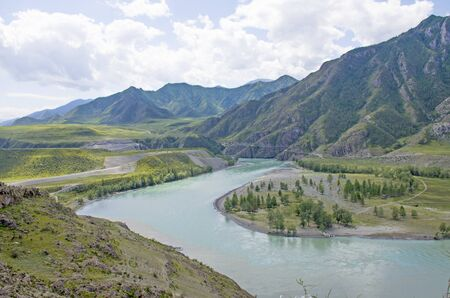 Landscape confluence of Chuya River and Katun River on Altai in Russia among mountains