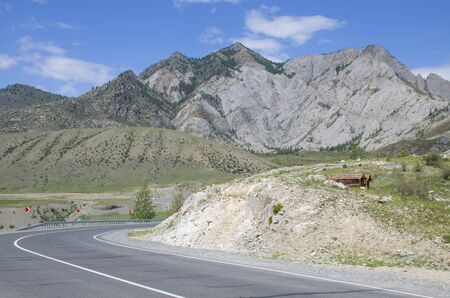 Landscape road among the high mountains of Altai in Russia