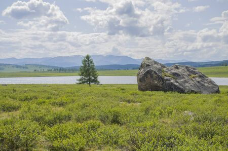 Landscape of taiga against the background of high mountains among lake Altai in Russia