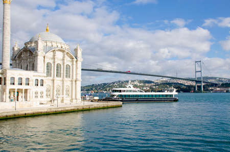 landscape water transport goes by sea and sights Istanbul city