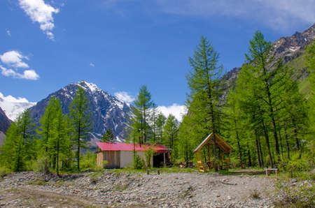 beautiful landscape a house in Mountains Altai Russia