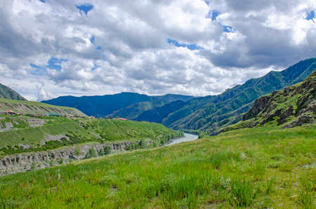 landscape of Mount Altai and mountain river in Russia