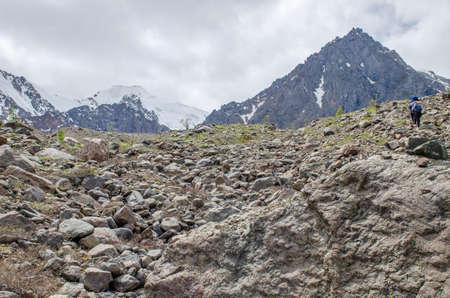 Mount Altai landscape glacier to Aktru Russia 免版税图像