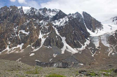 landscape mountains Altai glacier glacier Aktru with snow