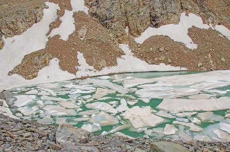 Mountain Altai blue lake among mountains glacier Aktru