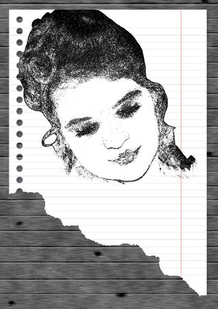 The drawn portrait of the girl Stock Photo - 3484099