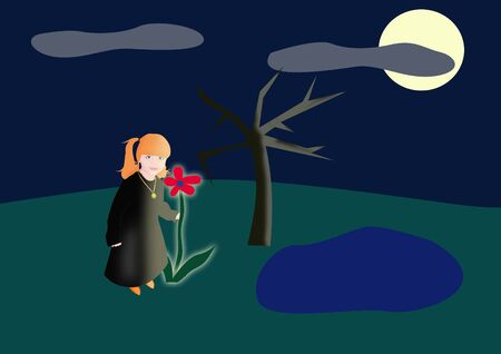 The little witch collects flowers in a full moon Stock Photo - 3671719